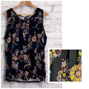 LOFT Navy Rainbow Floral Sleeveless Blouse Size XL